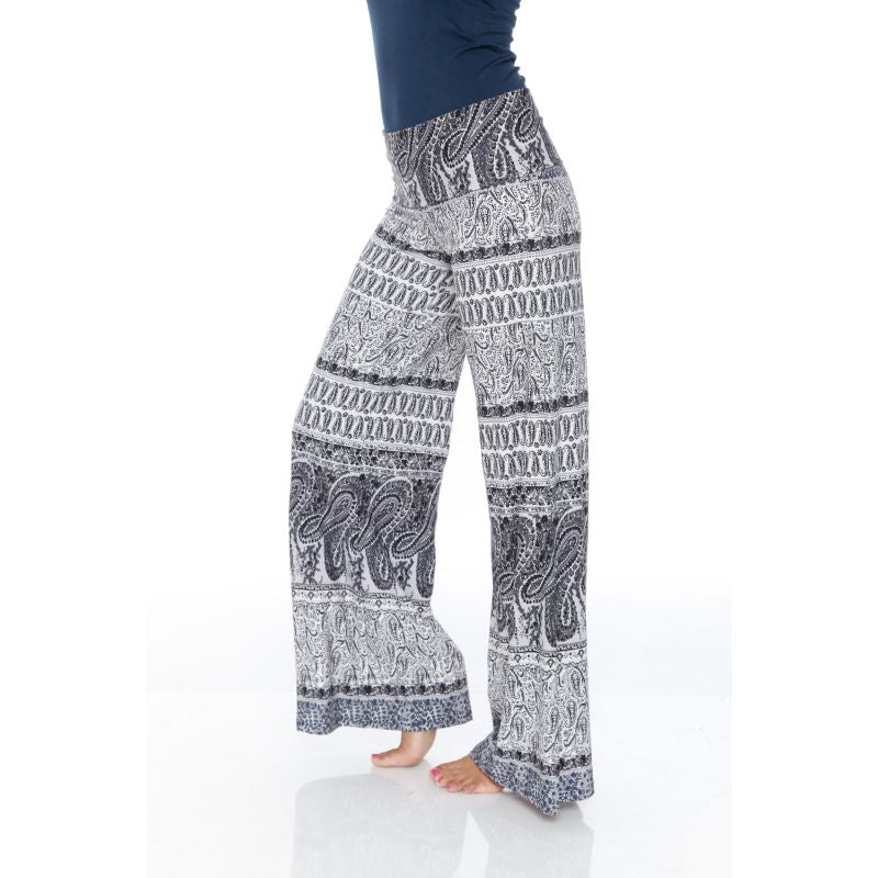 Women's Printed Palazzo Pants - Smokey White & Gray-Daily Steals