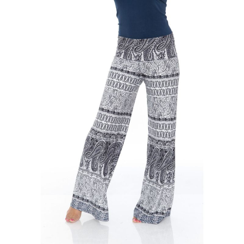 Women's Printed Palazzo Pants - Smokey White & Gray-S-Daily Steals