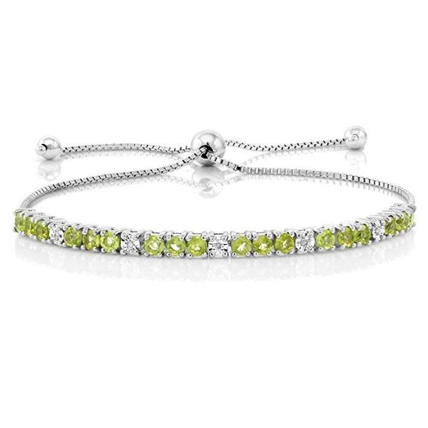 7.5Ct Peridot and White Topaz Gemstone Bracelet Made with Swarovski Crystals-Daily Steals