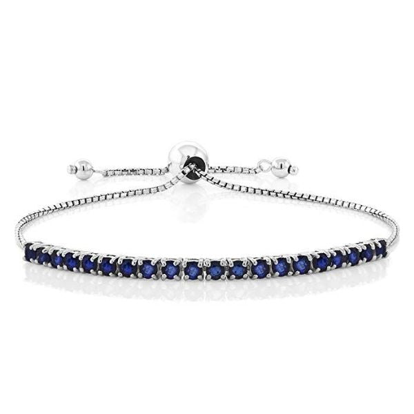 7.50 Ct Sapphire Gemstone Bolo Slider Bracelet Made with Swarovski Crystals-Daily Steals