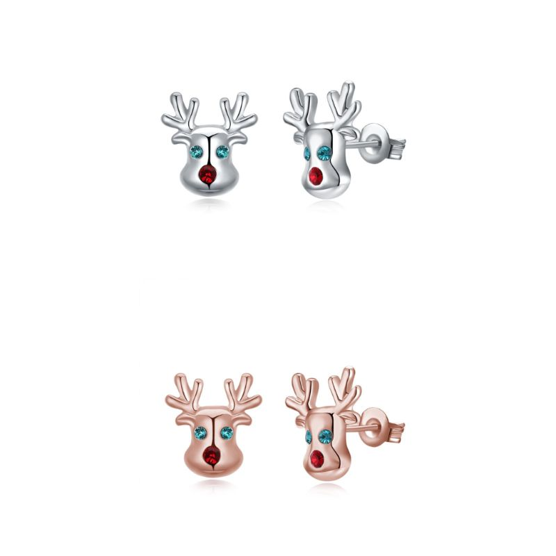 Rudolf The Reindeer Studs in 14K Gold Plating Made with Swarovski Elements-Daily Steals