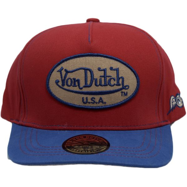 Von Dutch Men's Women's USA Patch Red and Blue Trucker Hat - One Size-Daily Steals