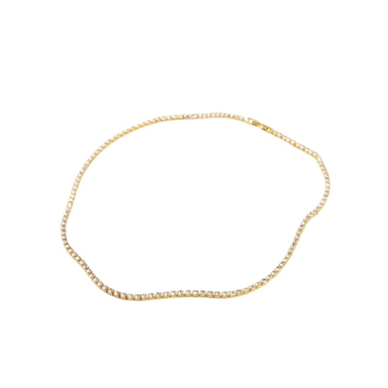 Classic 3mm Tennis Choker Necklace Made with Swarovski Crystals-Yellow Gold-Daily Steals