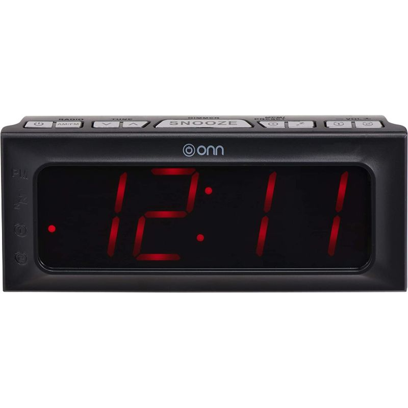 ONN Digital Alarm Clock Radio AM and FM with Snooze Button Sleep Functions