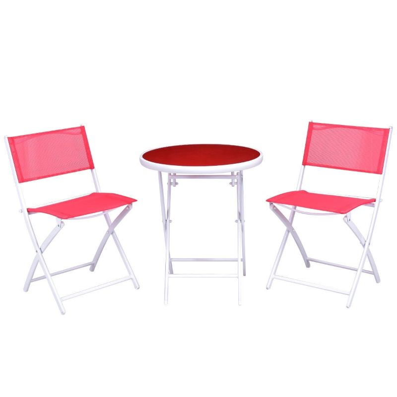 Folding Garden Patio Table Chair Set - 3 Piece