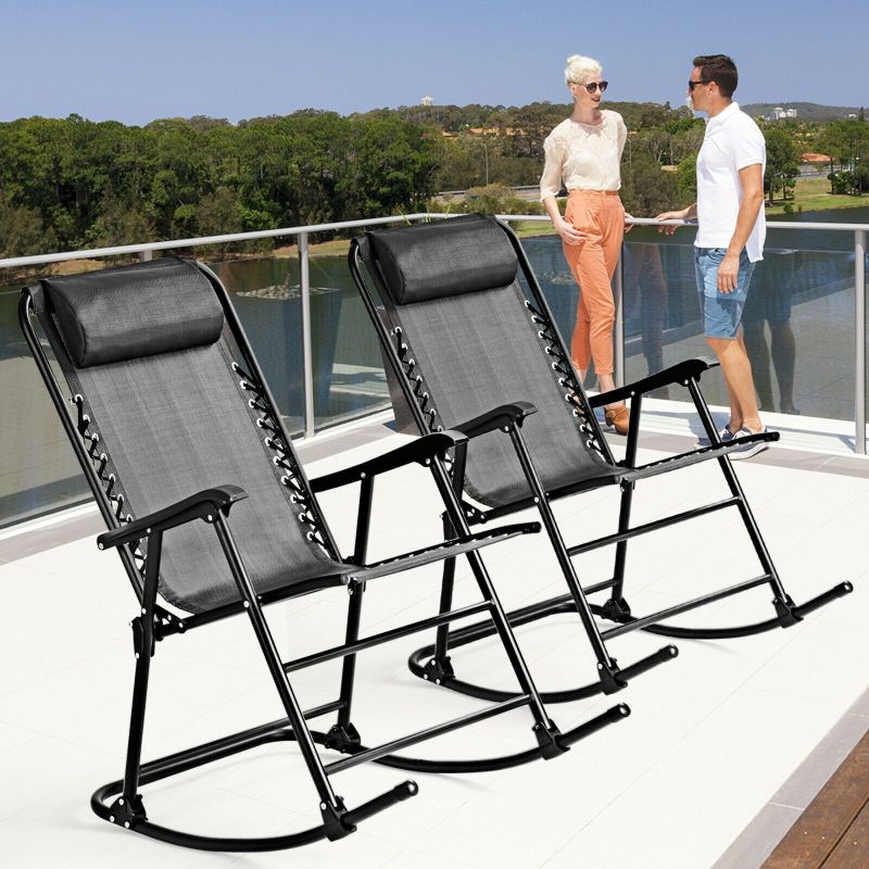 Outdoor Patio Headrest Folding Zero Gravity Rocking Chair