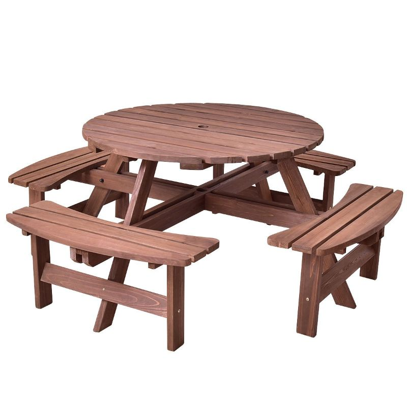 Costway Patio 8 Seat Wood Picnic Dining Seat Bench Set