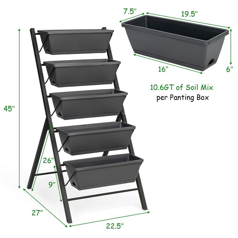 4 Feet Vertical Raised Garden Bed with 5 Tiers