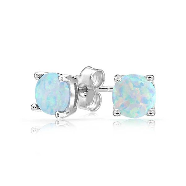 Opal Stone 1.00 CT Opal Round 6mm Stud Earrings-Daily Steals