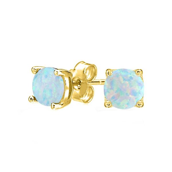Opal Stone 1.00 CT Opal Stud Earrings-Yellow Gold-Daily Steals
