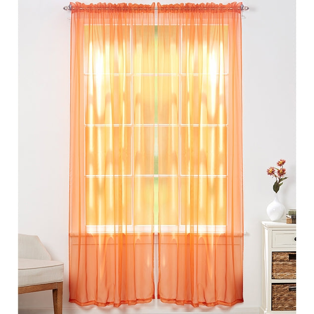 Linda Sheer Voile Curtain Panels - Various Colors - 4-Pack-Orange-Daily Steals