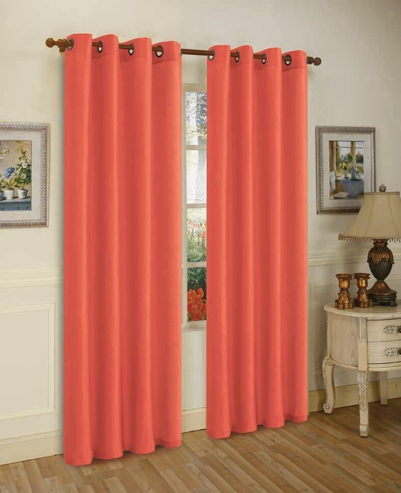 Mira Faux Silk Curtains with Bronze Grommets - 3 Panels-Orange-Daily Steals