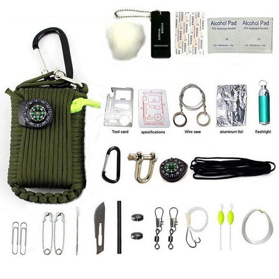 Outdoor Emergency Disaster Survival Kit-Green-
