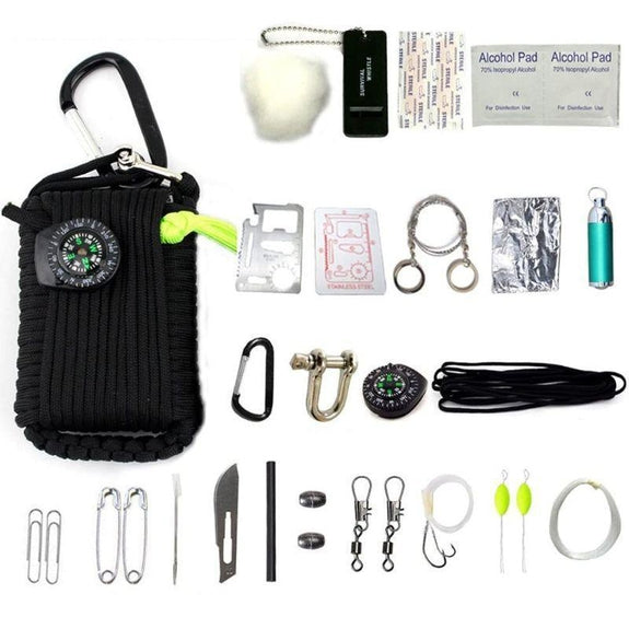 Outdoor Emergency Disaster Survival Kit-Black-