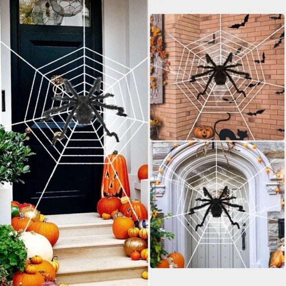 Outdoor Halloween Spider Decoration With Mega Spider Web Hairy 59'' or 49''-49 Inches-