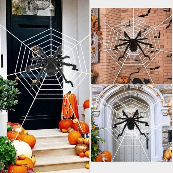 Outdoor Halloween Spider Decoration With Mega Spider Web Hairy 59'' or 49''-59 Inches-