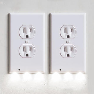 Daily Steals-LED Night Light Outlet Cover | 2-Pack (Rectangular Inner Frame)-Home and Office Essentials-