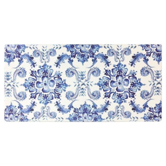 "Oversized 20""x39"" Anti-Fatigue Embossed Floor Mat-Poppy Sketch Tile Blue-Daily Steals"
