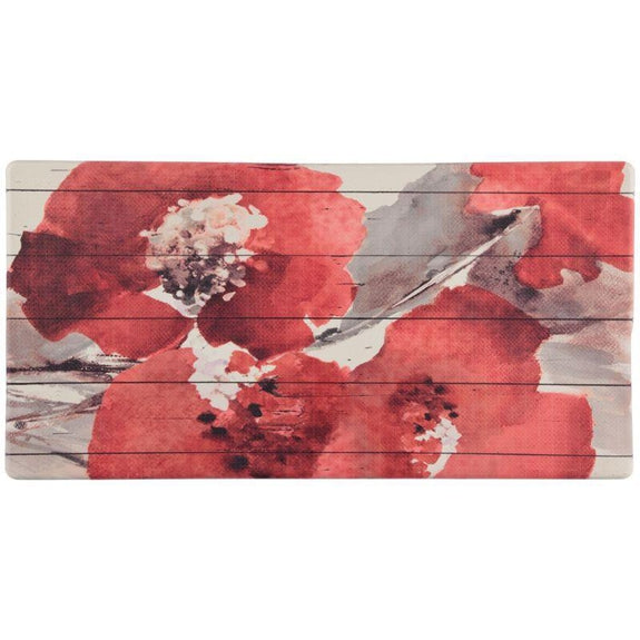 Tapis de sol en relief anti-fatigue surdimensionné de 20 po x 39 po - ROUGE FLORAL - Vol quotidien