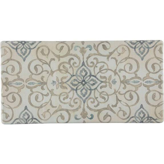 "Oversized 20""x39"" Anti-Fatigue Embossed Floor Mat-Rustic Medallion Cream-Daily Steals"