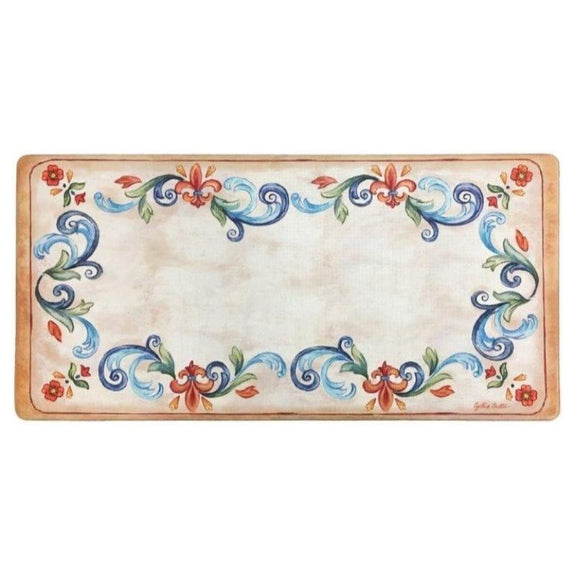 "Oversized 20""x39"" Anti-Fatigue Embossed Floor Mat-Tuscan Fleur Cream-Daily Steals"