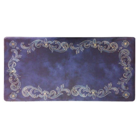 "Oversized 20""x39"" Anti-Fatigue Embossed Floor Mat-Tuscan Fleur Navy-Daily Steals"