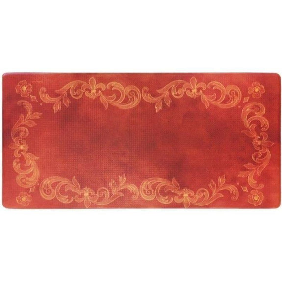 "Oversized 20""x39"" Anti-Fatigue Embossed Floor Mat-Tuscan Fleur Red-Daily Steals"
