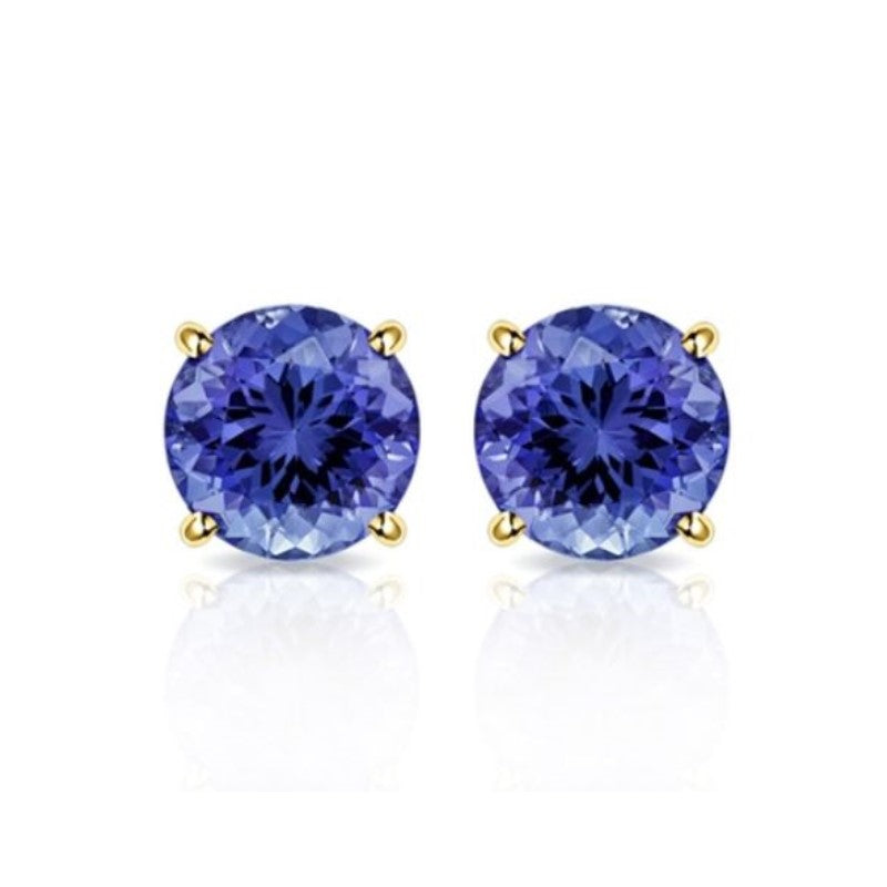 2.00 CTW Lab Created Tanzanite Stud Earrings in 10K Solid Yellow Gold-Daily Steals