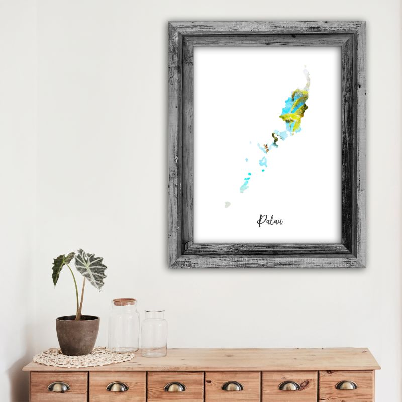 "Palau Watercolor Map Print - Unframed Art Print-5""x7""-Vertical/Portrait-Daily Steals"
