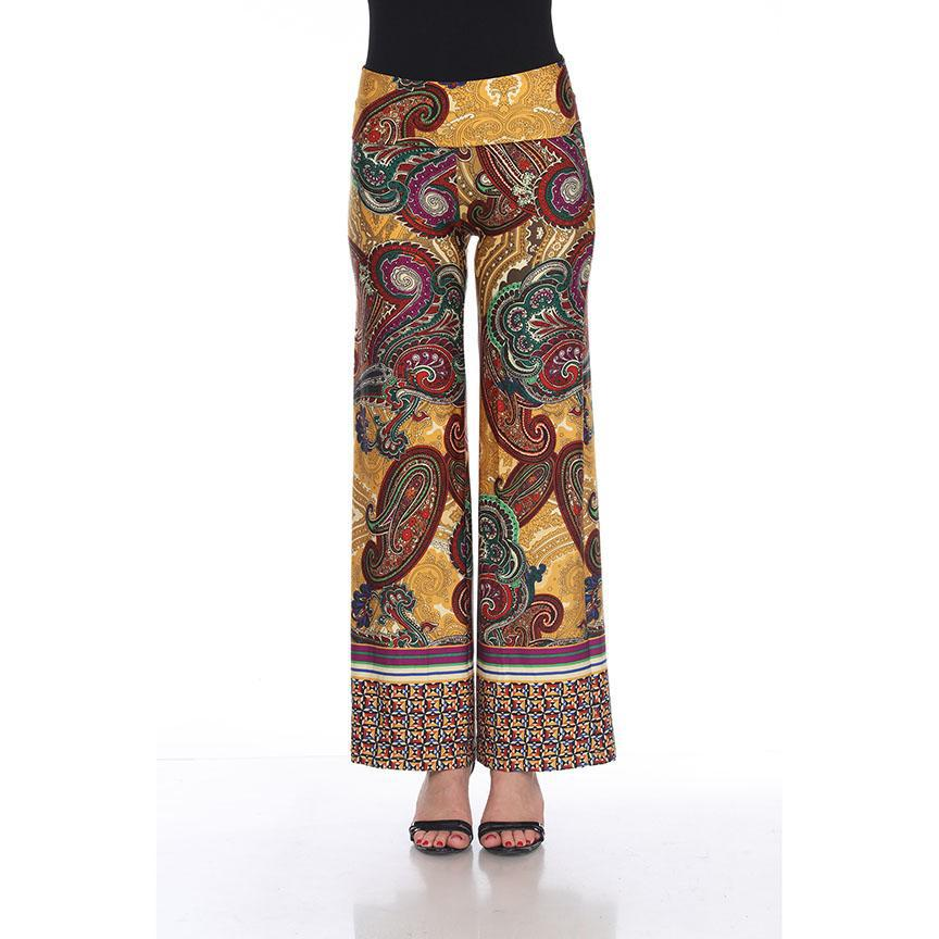 Women's Printed Palazzo Pants - Hot Mustard Yellow-S-Daily Steals