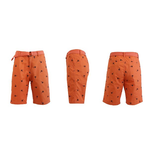 Men's Belted Fashion Printed Cotton Shorts with Modern Fit-PalmTree-Salmon-Orange-30-Daily Steals