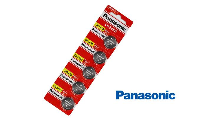 [5-Pack] Panasonic CR2450 Lithium Battery 3V - Great for Garage openers, Security Systems, and More-Daily Steals