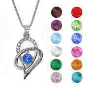 """I Love you to the moon and back"" Birthstone Inspired Pendant on Silver Chain-Daily Steals"