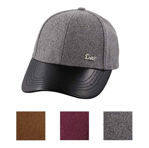 Deets Fashion Leather & Cashmere Baseball Cap - Unisex