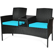 Patio Rattan Conversation Sofa Seat Set-Turquoise-