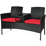 Patio Rattan Conversation Sofa Seat Set-Red-