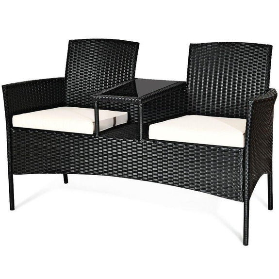 Patio Rattan Conversation Sofa Seat Set-White-