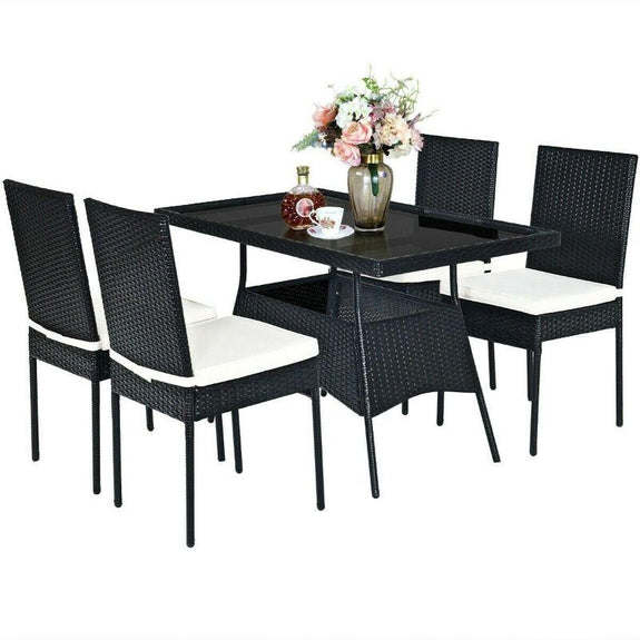 Patio Rattan Dining Set with Glass Top - 5 Piece-