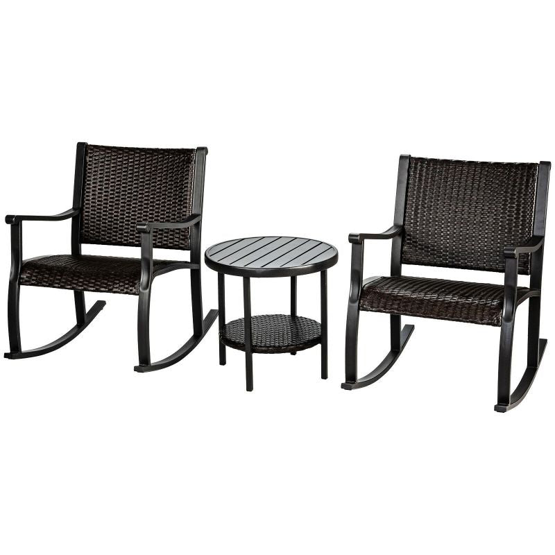 Patio Rattan Rocking Chair Bistro 3 Piece Set