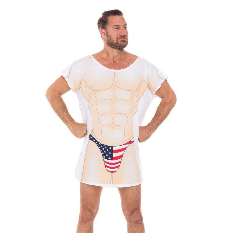 Patriotic USA Flag Thong Muscle Cotton Cover-Ups T-Shirts for Men Swimwear-