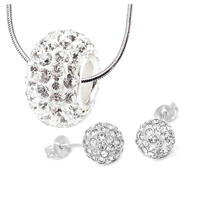 Daily Steals-Pave Bead Jewelry Set - Collier et boucles d'oreilles 8mm Disco Ball-Bijoux-