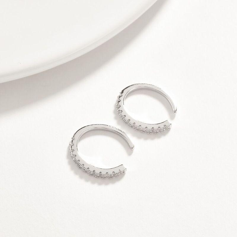 Pave Cuff Huggie Earring in Solid Sterling Silver with Swarovski Crystals-Silver-