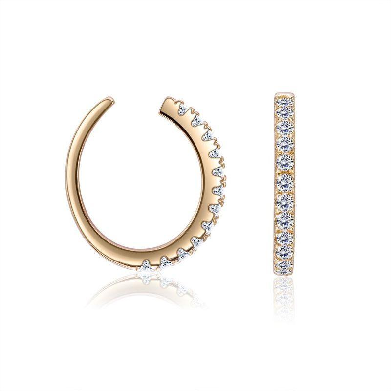 Pave Cuff Huggie Earring in Solid Sterling Silver with Swarovski Crystals-Gold-