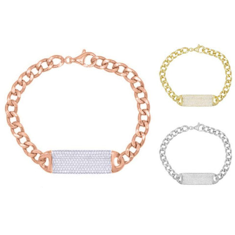 Pave Id Link Curb Chain Bracelet in 18k Gold Filled-Daily Steals