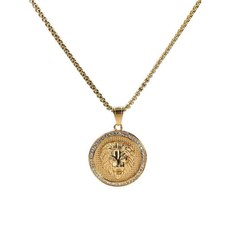 Pave King Of The Jungle Lion Pendant Medallion Necklace in 18k Gold Filled-Daily Steals