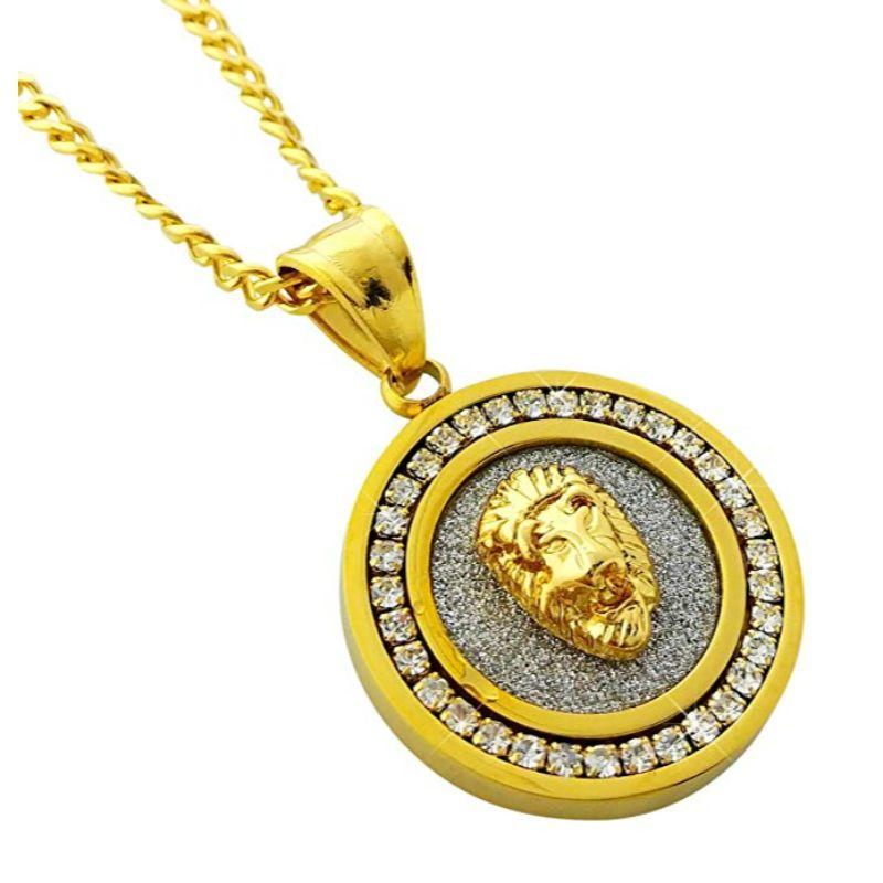 Pave Lion Necklace Embellished With Crystals In 18k Gold Filled-Daily Steals