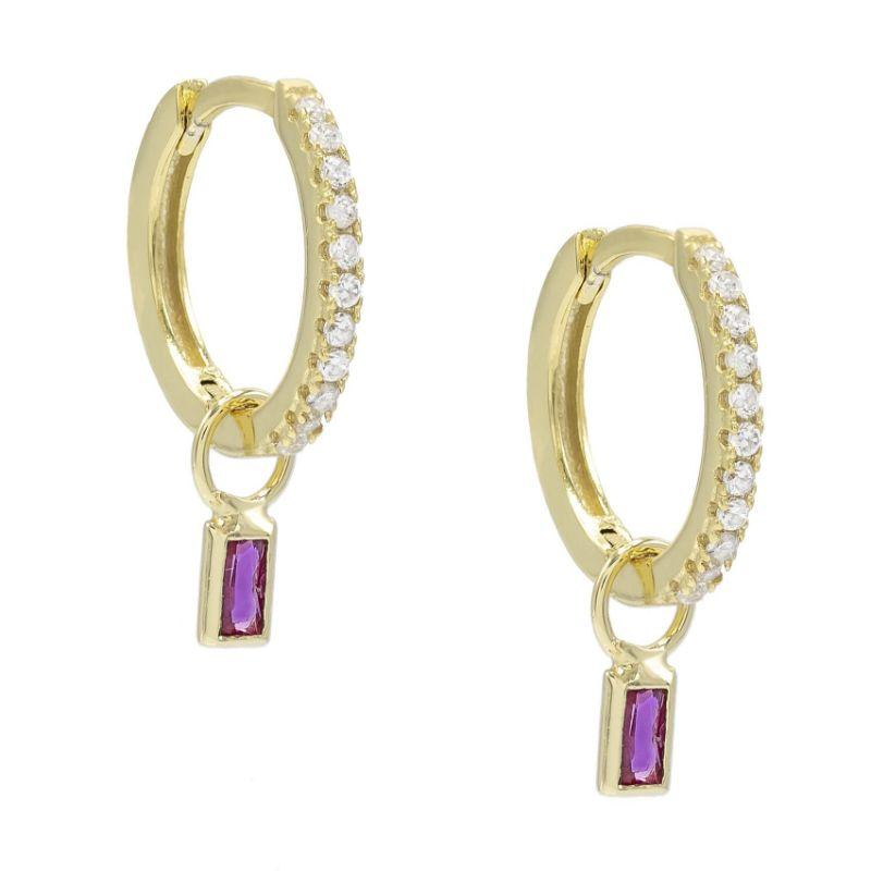 Pave Mini Dainty Pink Topaz Stud Earrings in 18k Gold Filled-Daily Steals