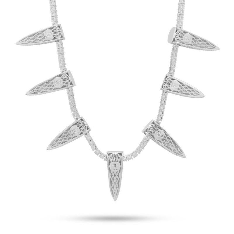 Pave Spike Necklace embellished With Crystals In 18k White Gold Filled-Daily Steals