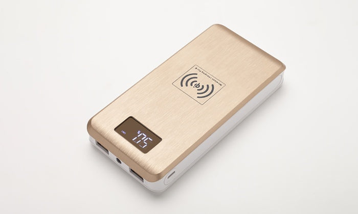 Liger 12,000mAh Power Bank with Qi Charging & LED Digital Display-Daily Steals