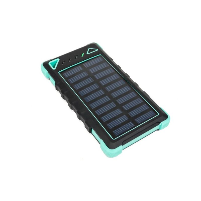 8,000mAh High-Speed 2-Port Solar Power Bank-Turqoise-Daily Steals